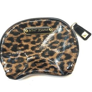 Betsey Johnson make up cosmetic bag leopard print